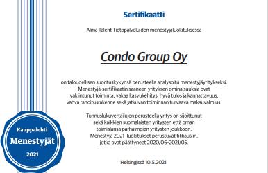 Condo Groupille taas tunnustusta